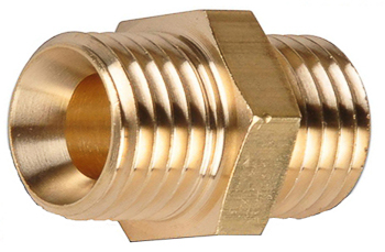 Brass Hex Nipple 3/8 Thread A 3/8 Thread B